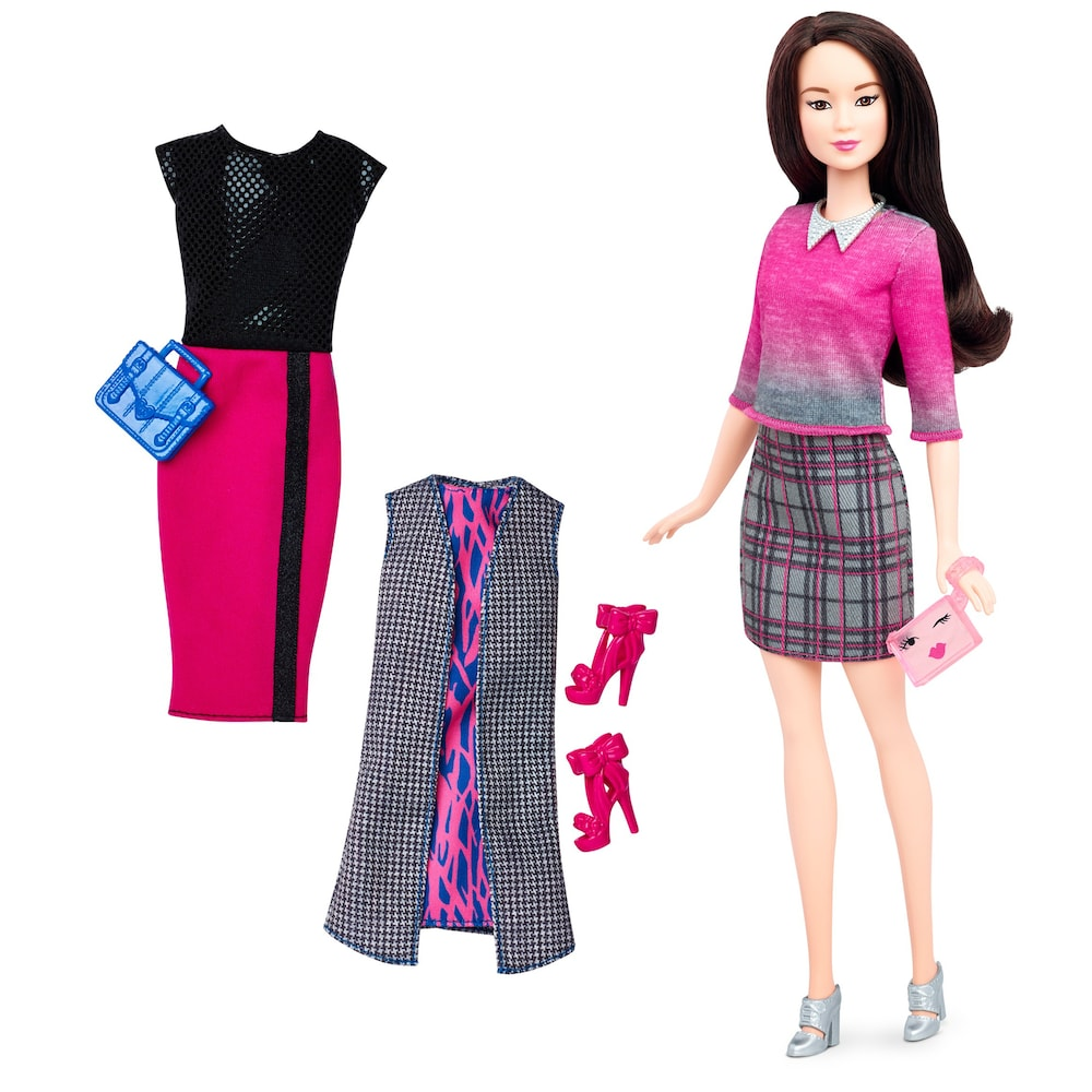 NEW Barbie Style Glam Luxe Fashionista Doll Black White Stripe Skirt ~ Clothing