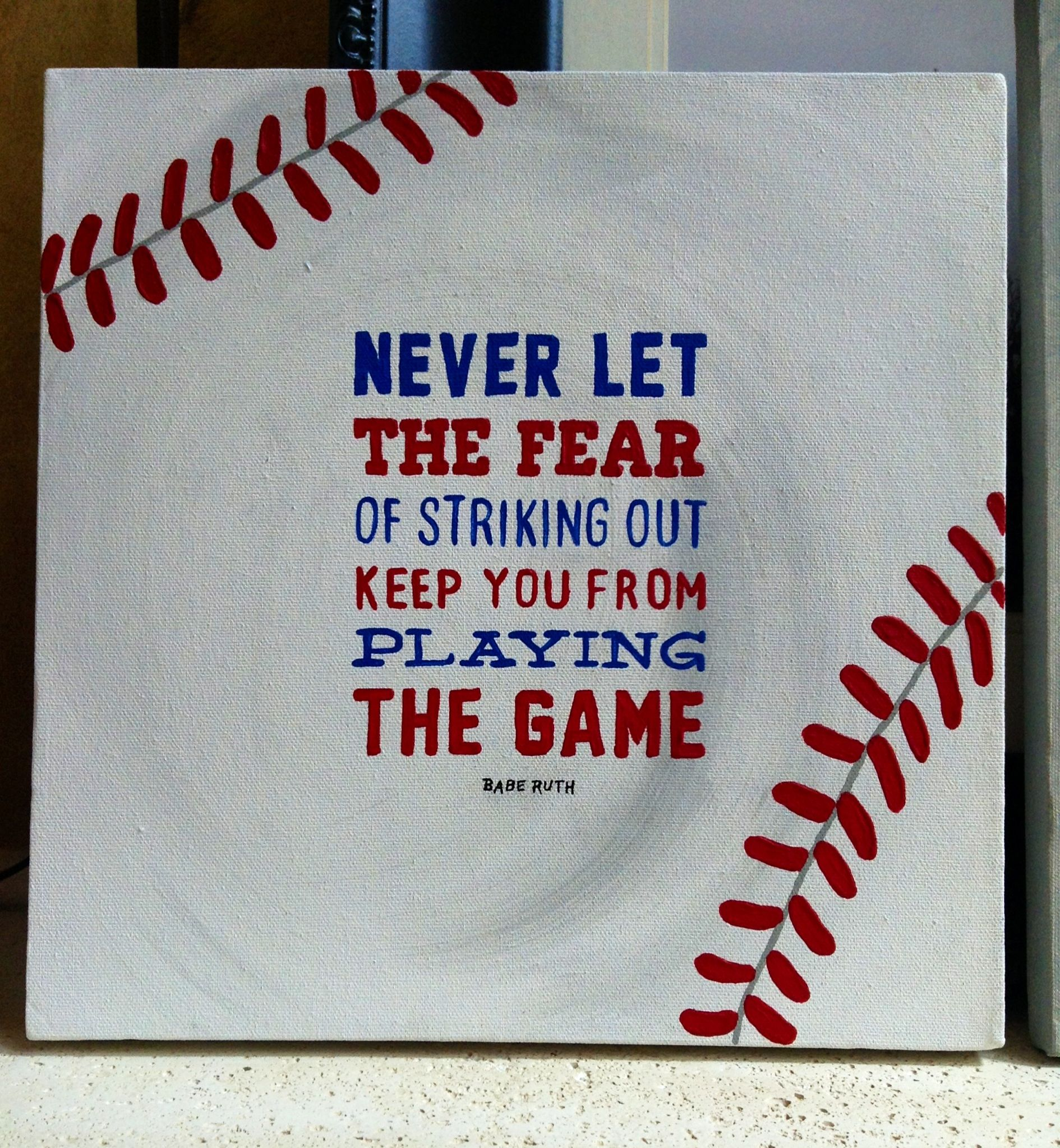 "Sq Quote Fair Hand Painted Baseball Canvas 12"" Sq Babe Ruth Quote Hws Originals"