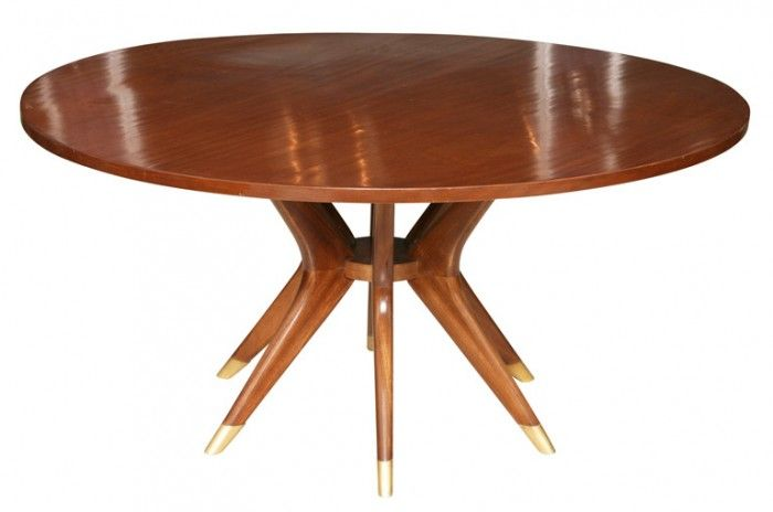 Mahogany And Brass Dining Table 5 Ft 7200 Mid Century Modern