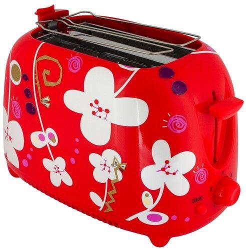 grille pain toaster d cor rouge motif de fleurs par. Black Bedroom Furniture Sets. Home Design Ideas