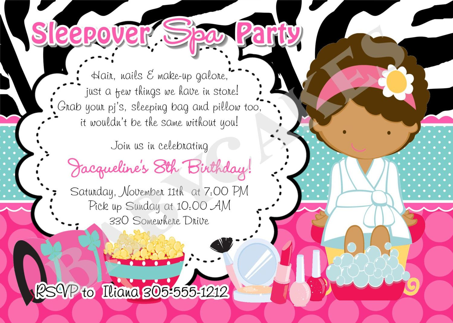 Spa Sleepover Birthday Invitation Invite Sleepover Spa Party