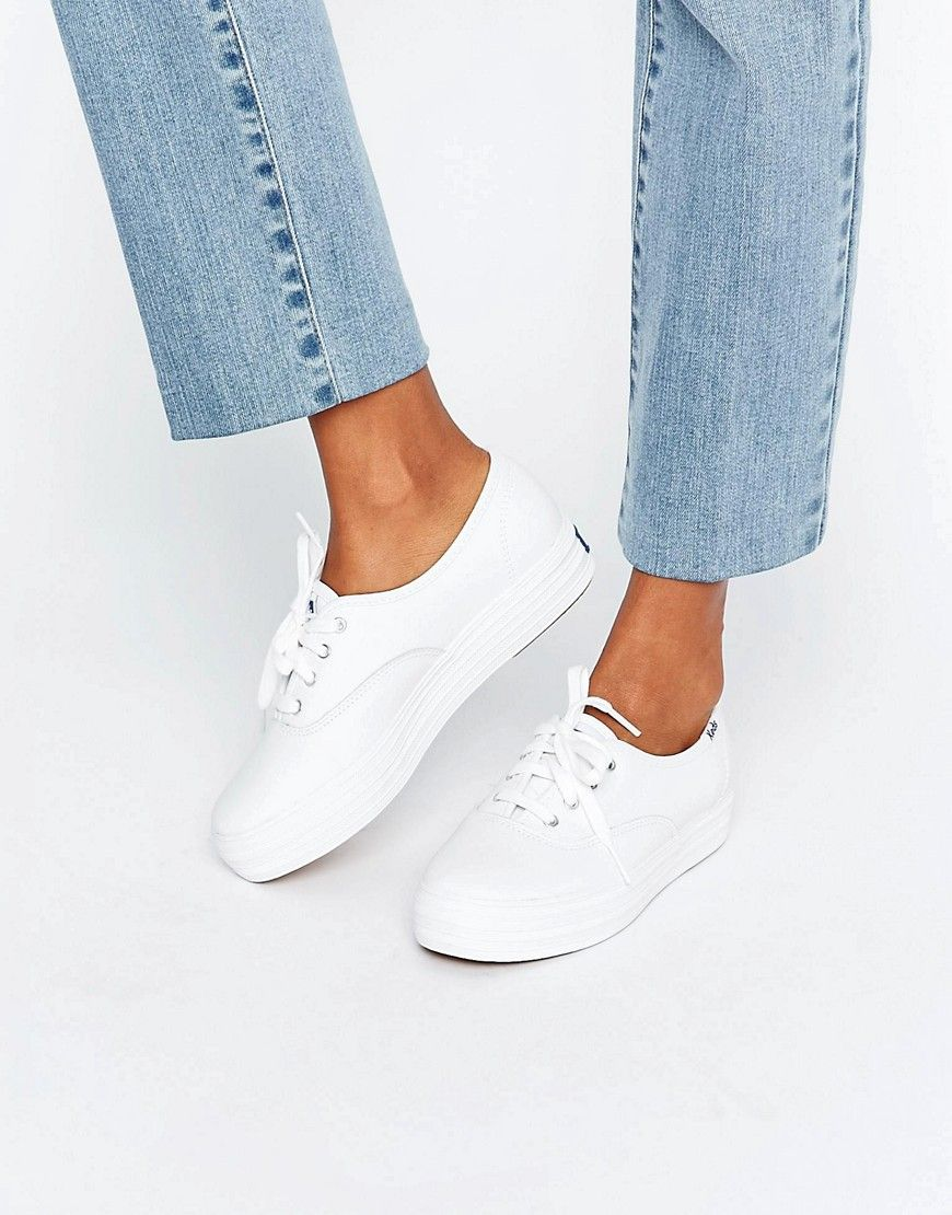 292bcaed2 Buy it now. Keds Classic Leather Platform Trainers - White. Trainers ...