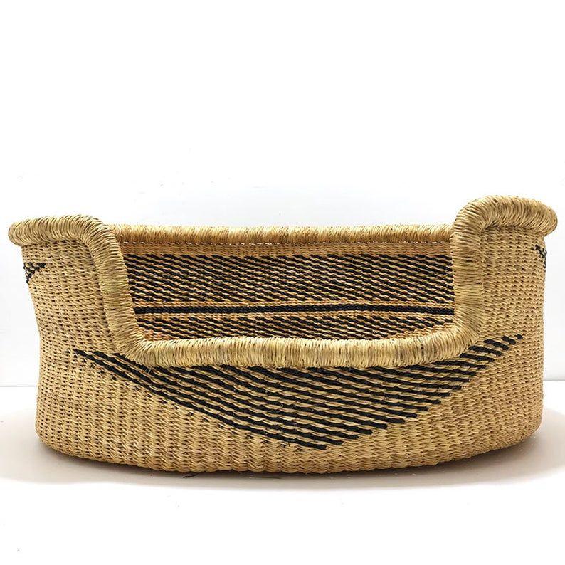 Small Bolga Dog Basket African Dog Bed Handmade Dog Bed