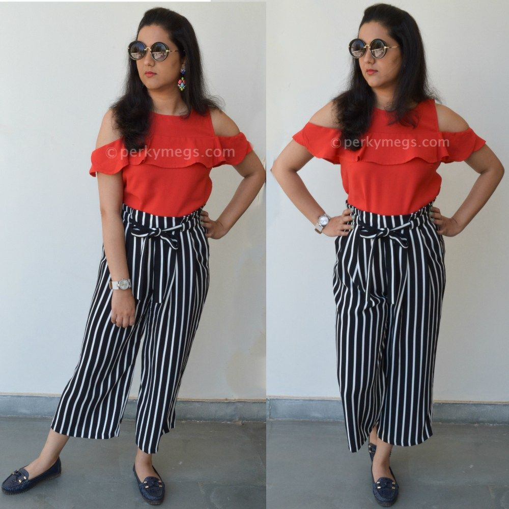 17d60f56850ef3 5 Dresses to hide tummy how to hide belly fat. Striped culottes with cold  shoulder top.