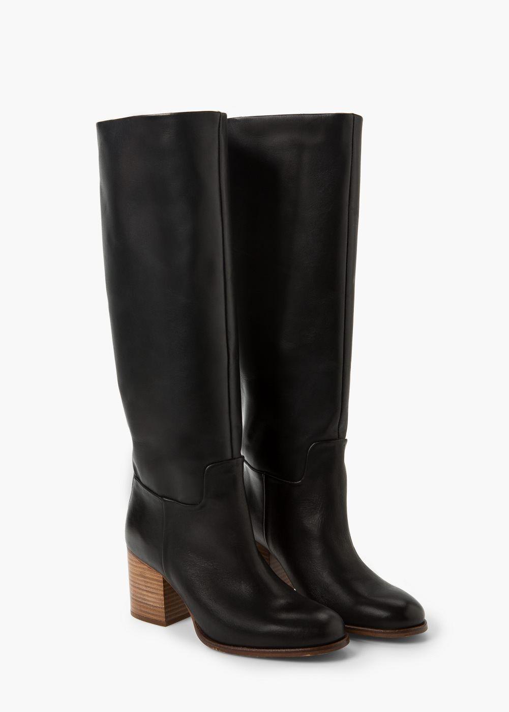 Hoge Leren Laarzen Dames Mango Nederland Lederstiefel Schuh Stiefel Stiefel