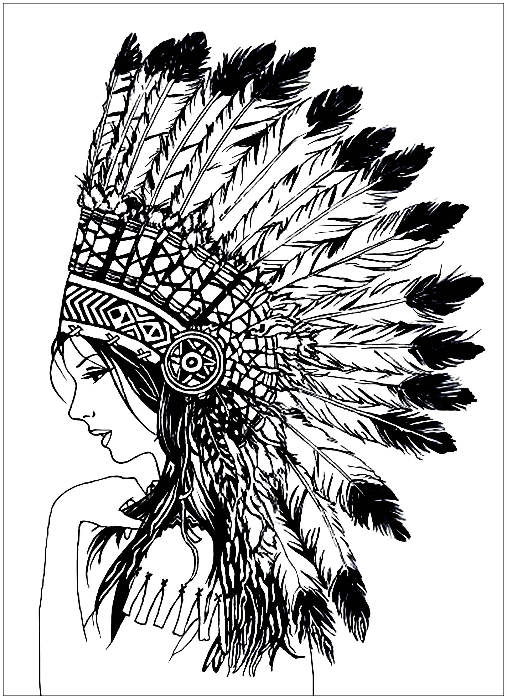 Beautiful indian woman Native American Coloring Pages