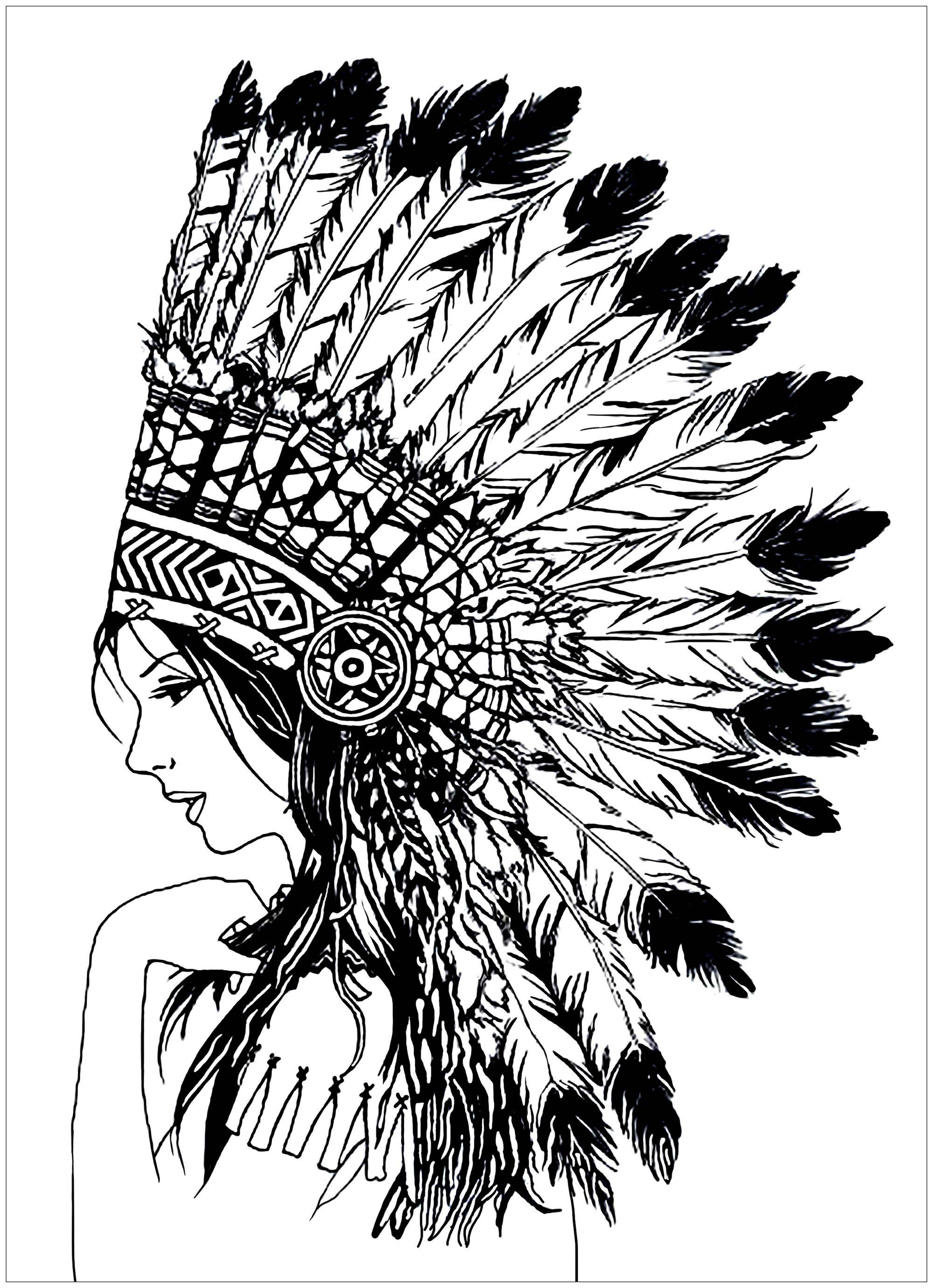 Photo of Beautiful indian woman – Beautiful Indian woman (Native American), with headdres…