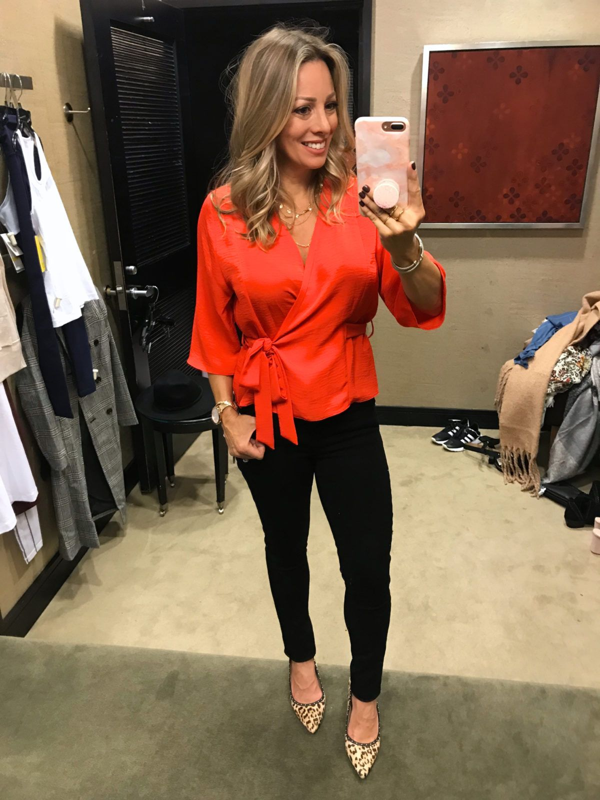 c39e6237 Nordstrom Anniversary Sale 2018 - red wrap top and black skinny jeans with  leopard shoes | Cute Fall Outfit