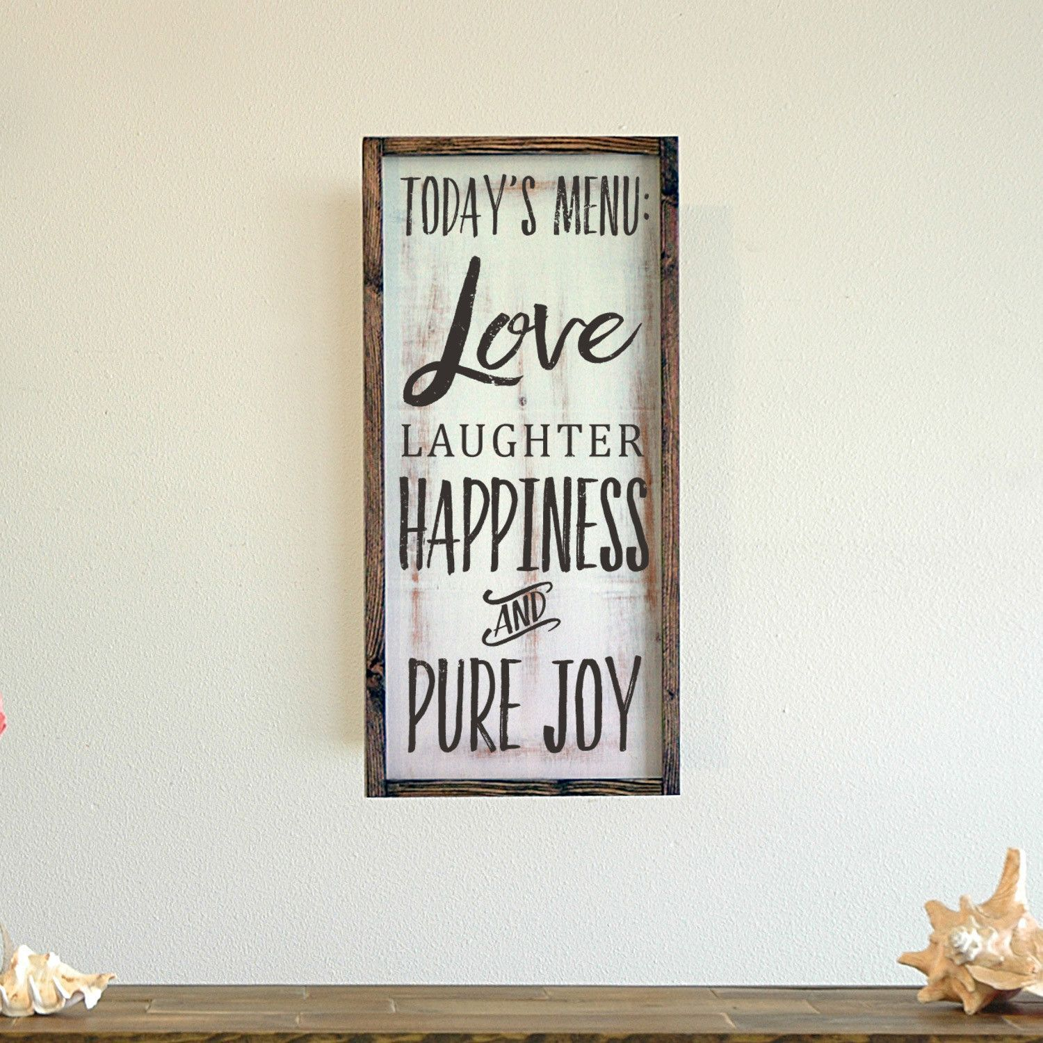 Love Laughter Happiness Pure Joy Framed Wall Art 11x22 Wooden Signs Wood Frame Sign Framed Letters
