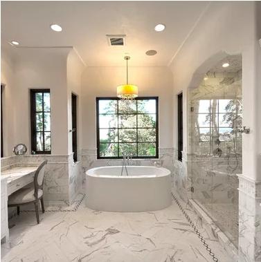 calacatta gold marble bathroom   tuscan bathroom