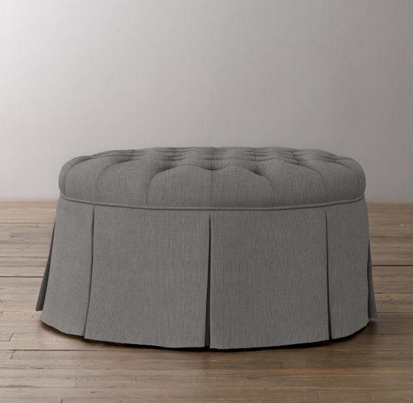 Classic Round Tufted Upholstered Ottoman Upholstered Ottoman