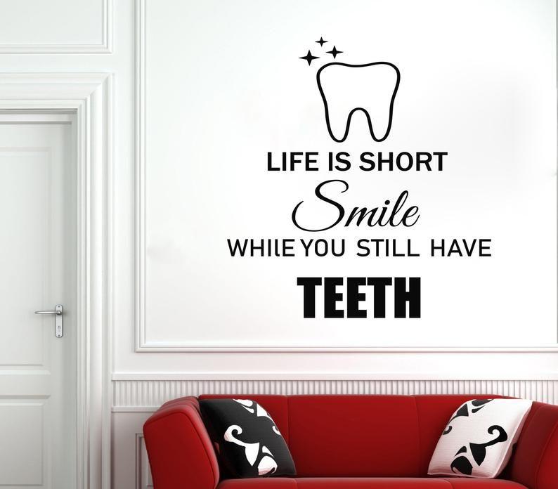 Dental Clinic Wall Decal Dental Wall Sticker Dental Clinic Etsy In 2021 Dental Quotes Clinic Interior Design Dental Wall Art
