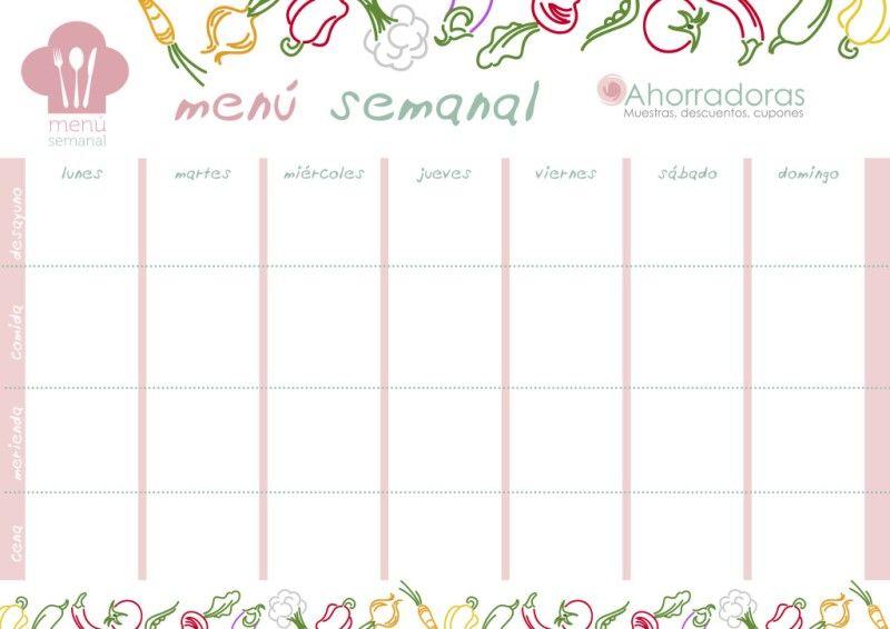 7 plantillas para planificar el men semanal men semanal planificadores y plantas - Planificador banos ...