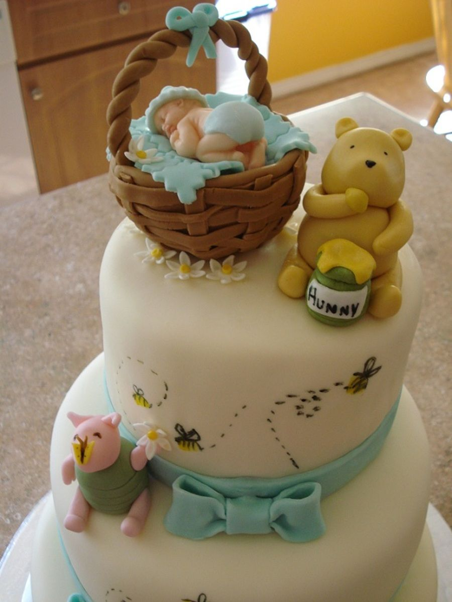 Classic pooh baby shower cake with images baby shower