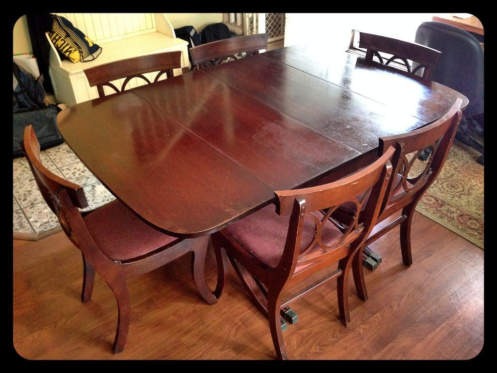 Vintage Mahogany Drexel Travis Court Dining Room Table And Six Chairs # Drexel
