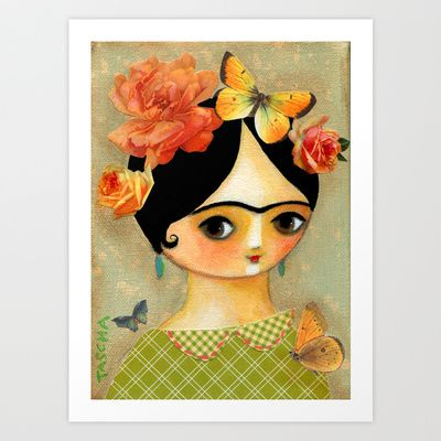 Springtime Frida with butterflies and roses Art Print by Tascha - $15.60