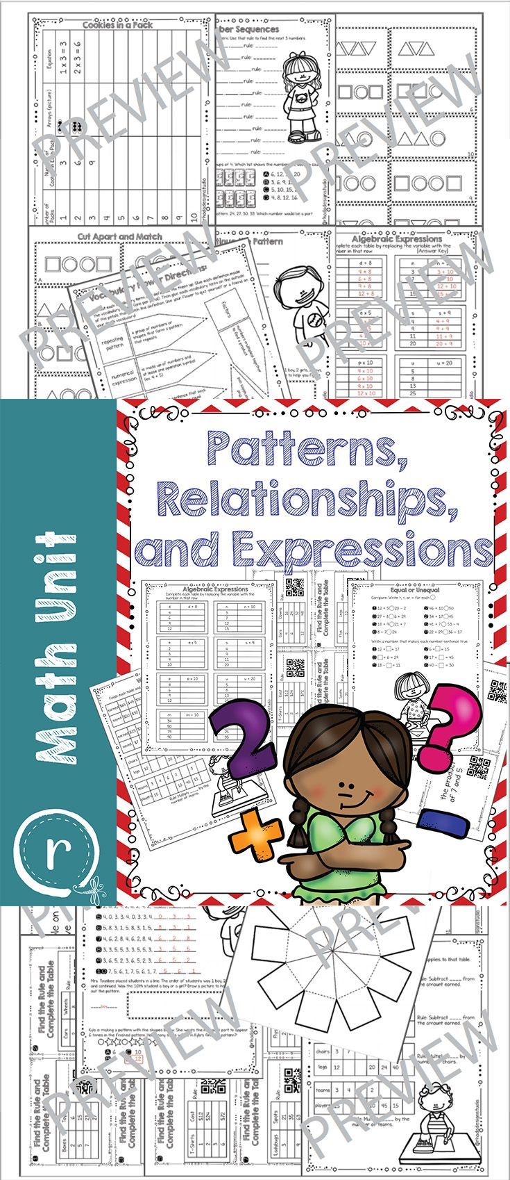 Patterns Relationships And Expressions Math Unit Vocabulary