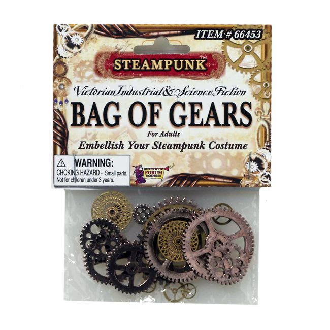Embellish your Steampunk costume with our Bag of Gears. It will allow you to blend Neo-Victorian Industrial fashion with the elements of Science Fiction in your steam-powered world. The Steampunk Bag of Gears includes a random assortment of plastic gears in a variety of vintage colors such as brass, bronze and gold. You can use the mechanical gears to attach to your costume to give it some steam and a look that is all your own. These watch gears are a great accessory to use as a gadget prop…