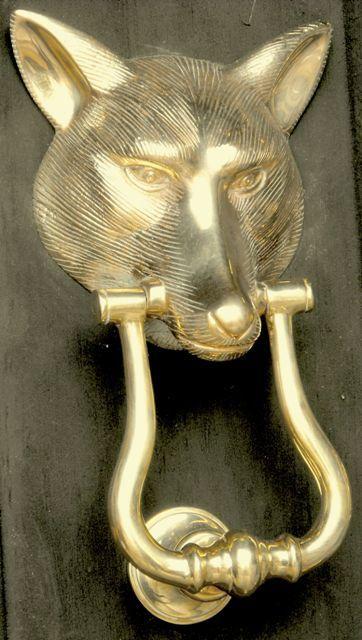 Fox Head With Loop Brass Door Knocker