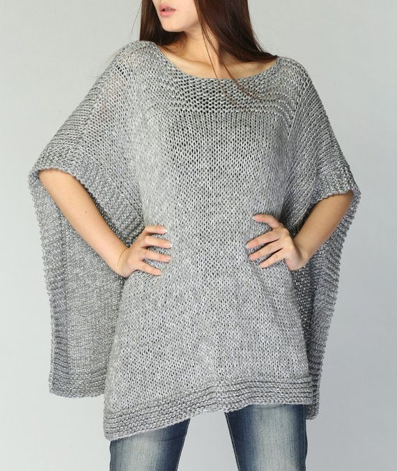 Hand knitted Poncho/ capelet grey eco cotton poncho | Ponchos ...