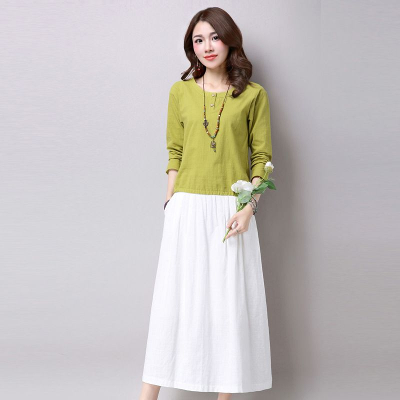Top-and-Long-Skirt-Set-Women-Spring-Autumn-Two-Piece-Set-A-line ...