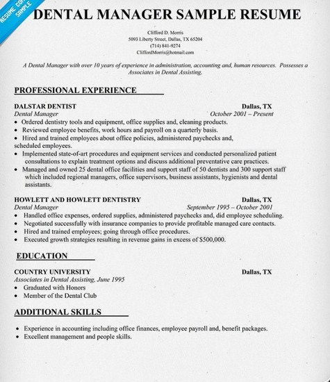 Sample Job Resumes Examples: Dental Office Manager Resume Sample