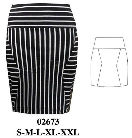 Falda con cortes, pretina ancha. Art.: 02673. Telas: lycra elasticadas. Consumo: talla m 50 cms. aprox.