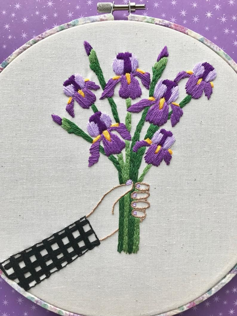 Hand Embroidery Pdf Pattern Iris Bouquet Digital Download Etsy Hand Embroidery Patterns Hand Embroidery Art Hand Embroidery Tutorial