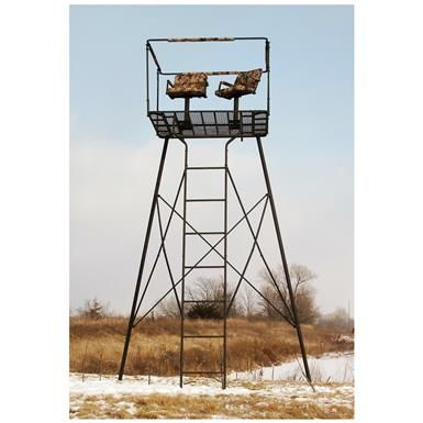Guide Gear 2 Man 12 Tower Tree Stand 663256 Tower Tripod Stands At Sportsman S Guide Tree Stand Deer Stand Tree Seat