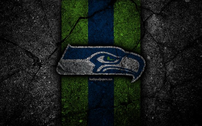 Download wallpapers 4k, Seattle Seahawks, logo, black