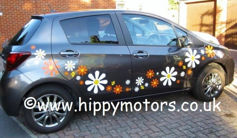 Crazy daisy decals car stickers by hippy motors orange and white jpg