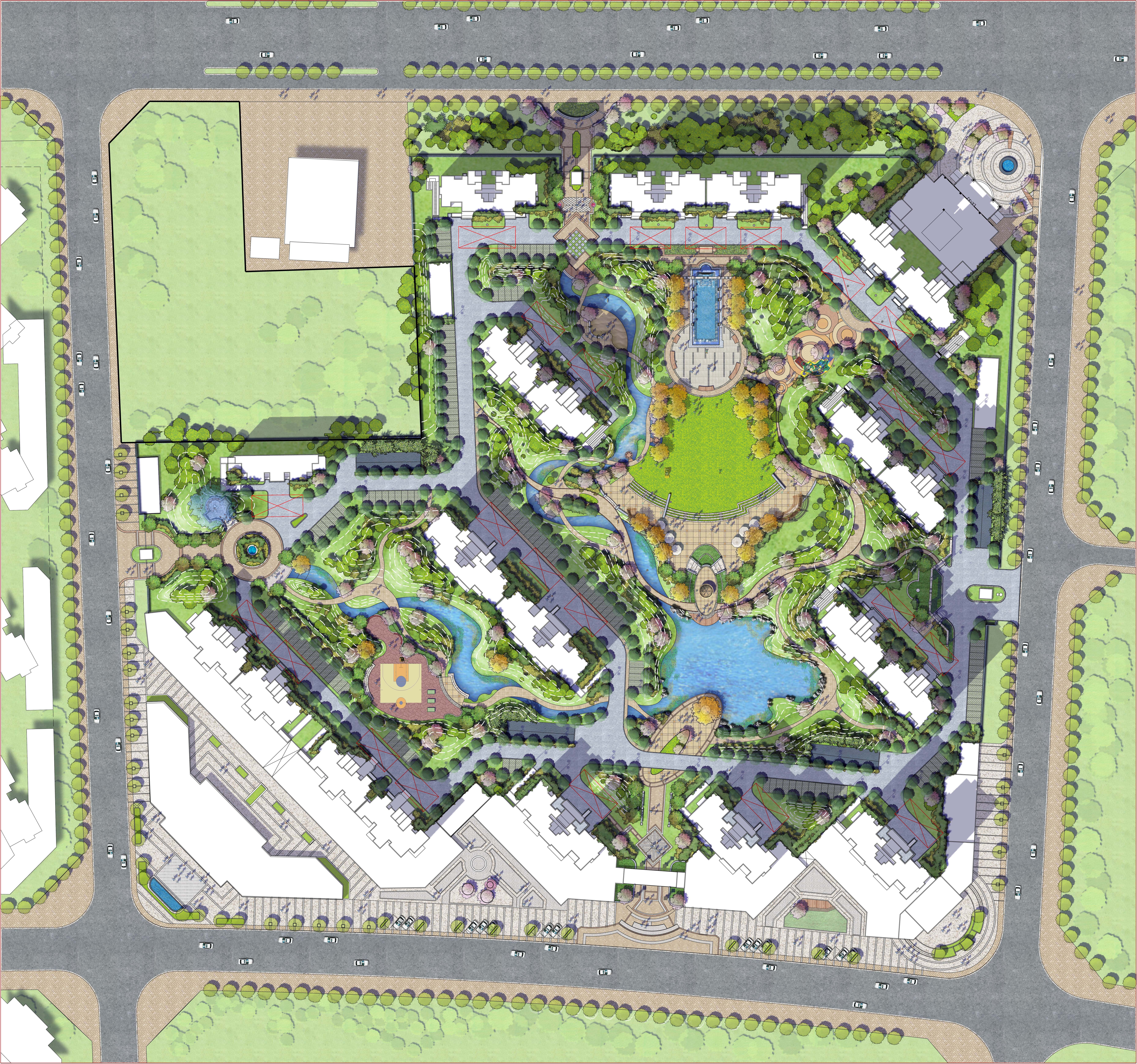Residential arch highrise residential pinterest master plan landscaping and urban for Residential landscape design plan