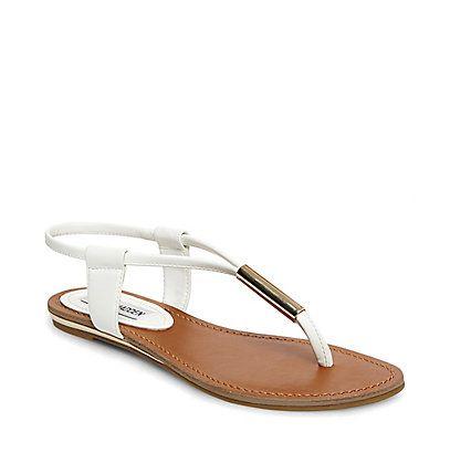 Thong Sandals   Black, White & Gold   Steve Madden HAMIL