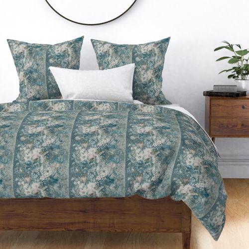 Colorful Fabrics Digitally Printed By Spoonflower Vintage Flora Stripes Duck Egg Blue Duvet Cover Design Duvet Covers Duvet Comforters