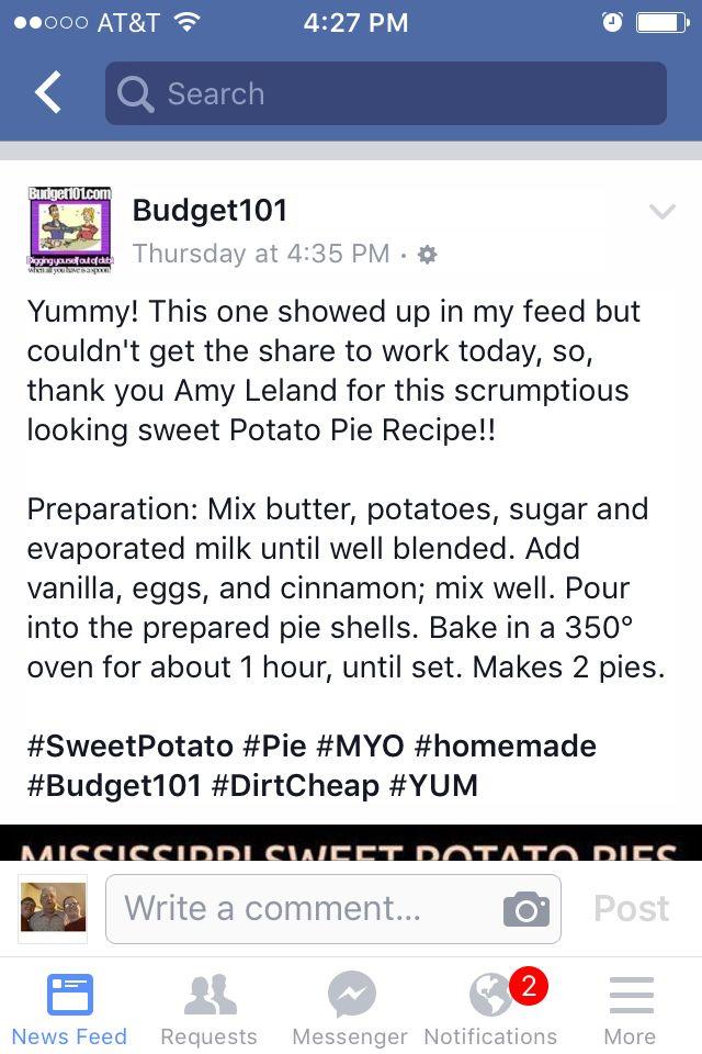 Direction for sweet potato pie