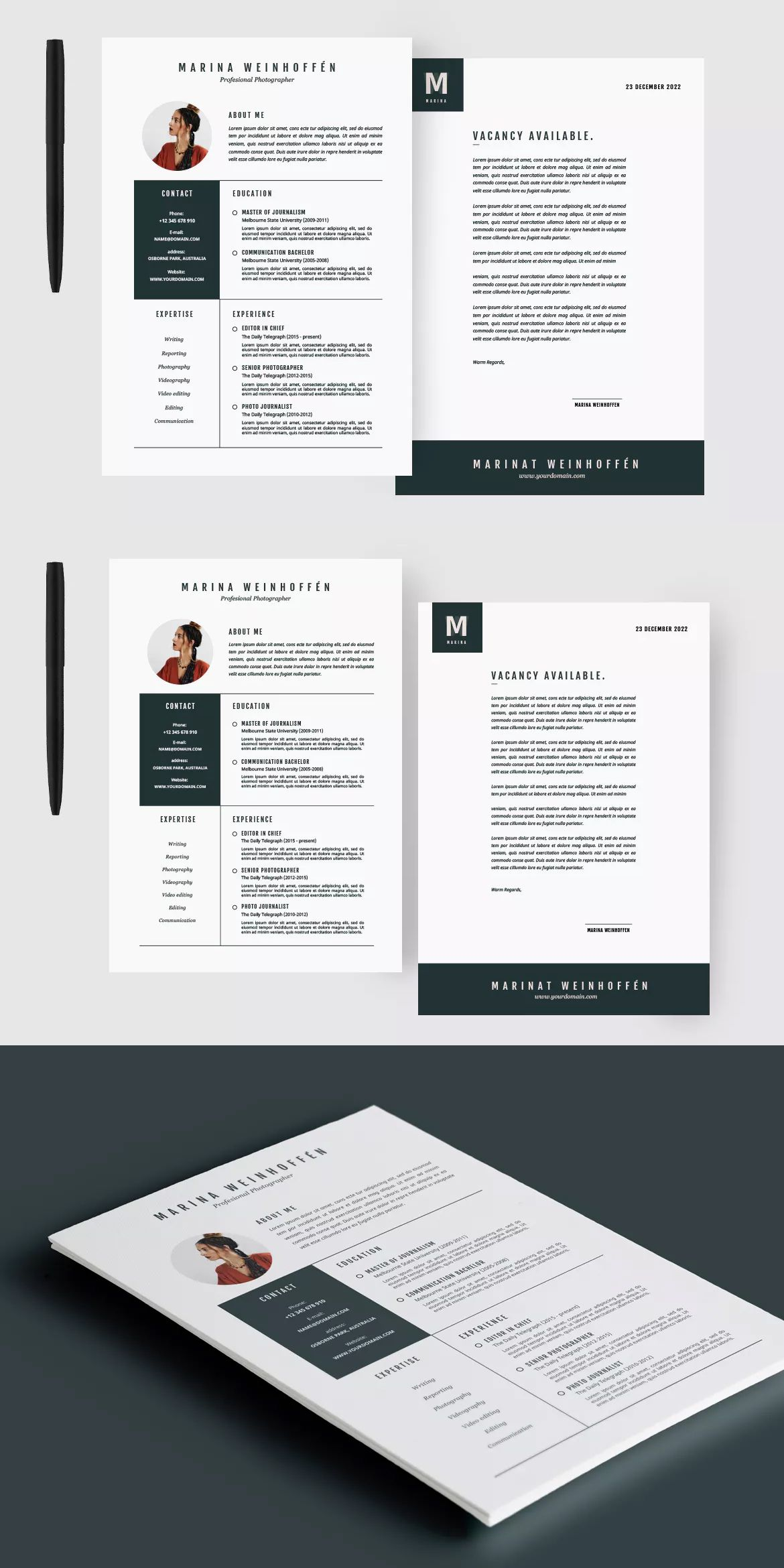 Minimal Resume & CV Template by micromove on Envato