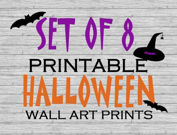 Printable Halloween Wall Art Prints Set of 8 Halloween Pinterest - print halloween decorations