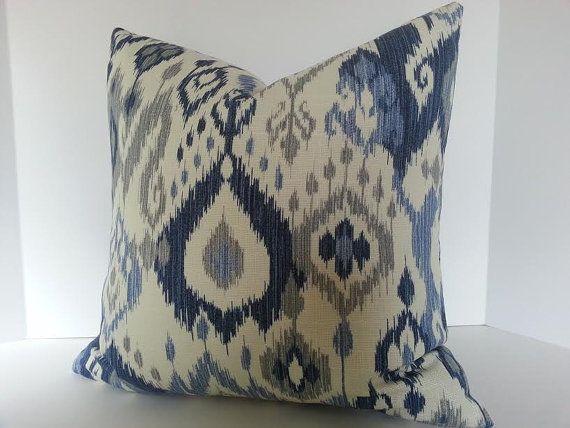 blue ikat decorative pillow cover