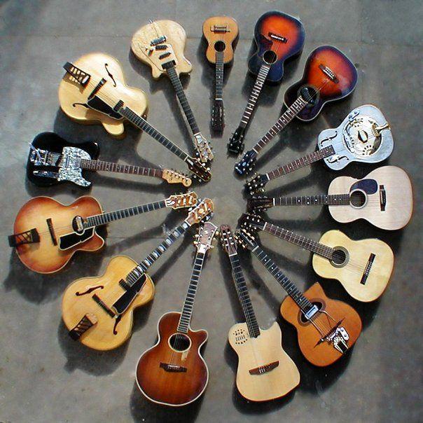 Circle Of Acoustic Guitars Musica De Guitarra Instrumentos Violao De 7 Cordas