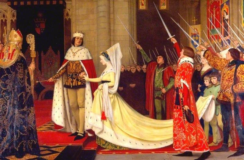 """King Edward IV and His Queen, Elizabeth Woodville at Reading Abbey, 1464"" by Ernest Board. 1923"