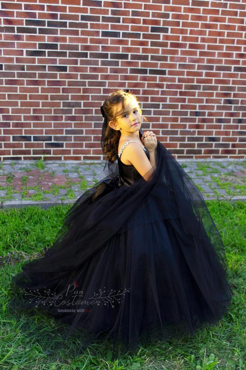 Black flower girl dress black swan costume for toddler
