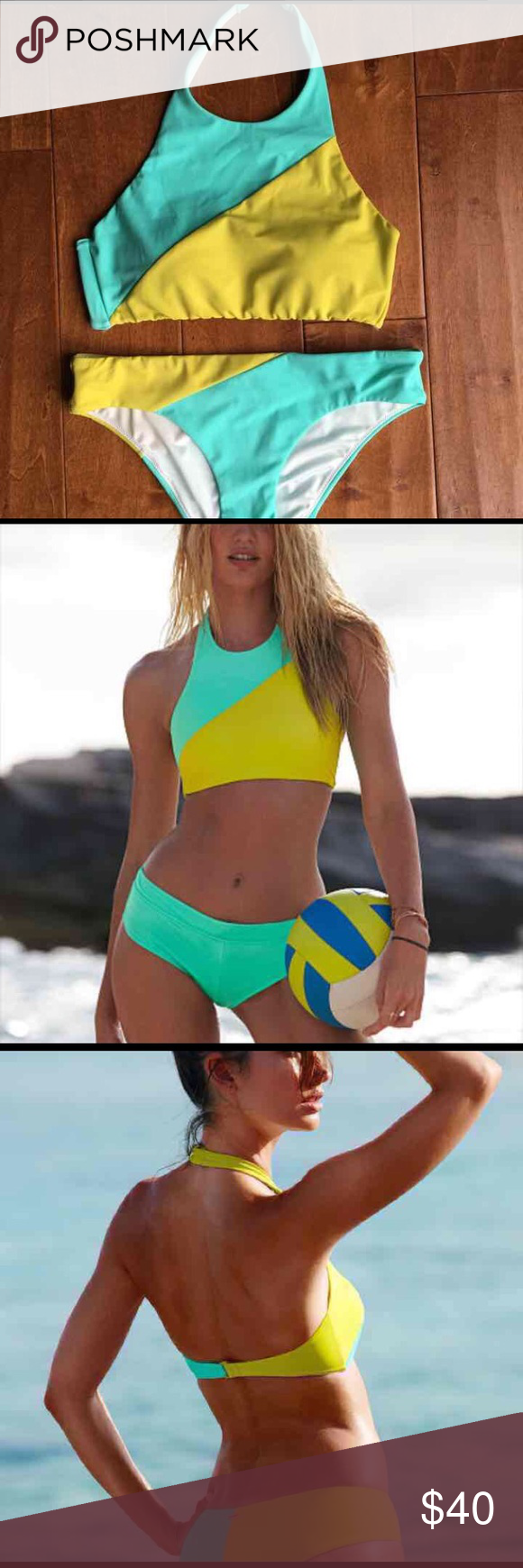 VS Colorblock Highneck bikini set!! SUPER CUTE. I've worn it one time. The Highneck is so trendy and received so many compliments :-) Victoria's Secret Swim Bikinis