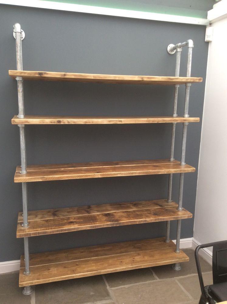 best service eafc9 b3889 Rustic Industrial Scaffold Board Plank Bookcase Shelving ...