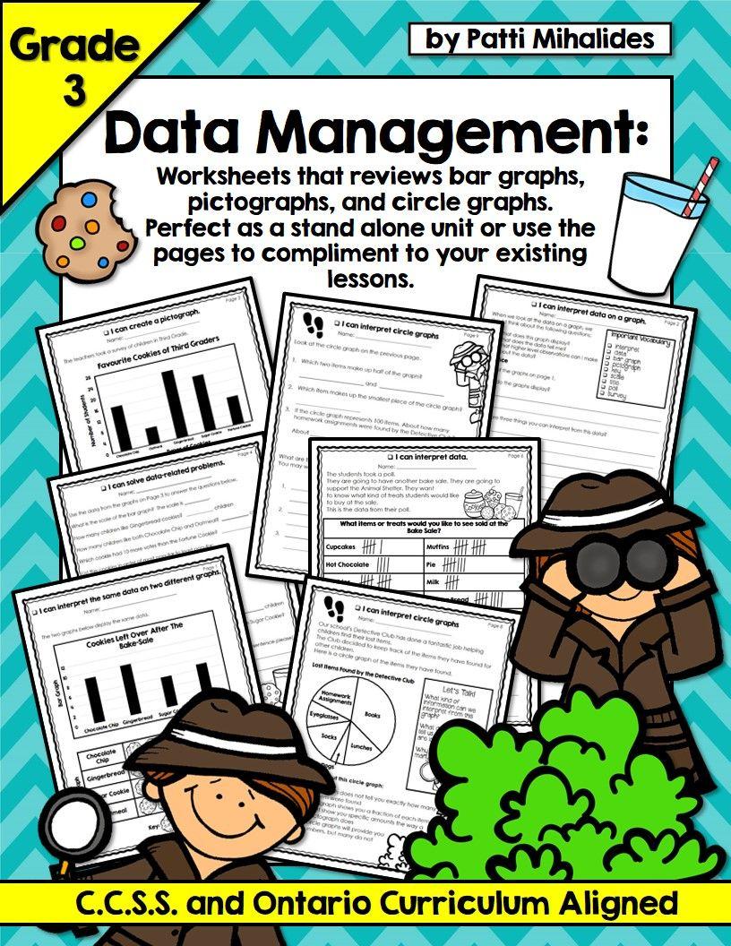 Graphing Data Management Third Grade Worksheets Bar Circle Pictographs Third Grade Worksheets Third Grade Math Graphing [ 1056 x 816 Pixel ]
