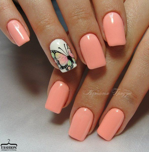 Butterfly spring summer nails (With images) | August nails ...