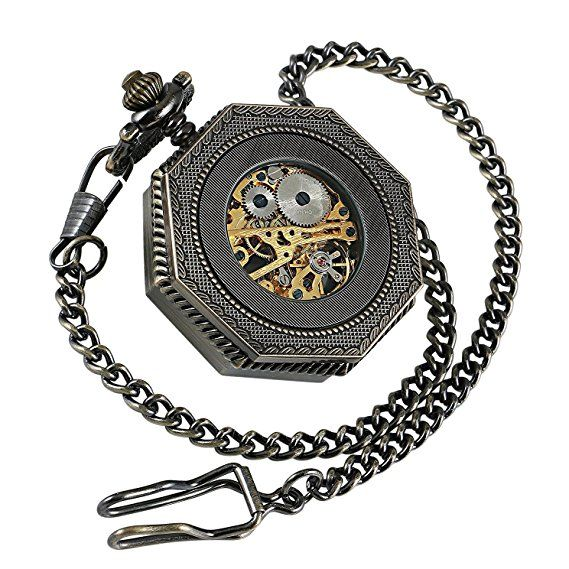 Amazon.com: Roman Retro old railroad style Bronze Octagon Steampunk mechanical Skeleton Hand-wind pocket watch with Chain CHPW02: Watches