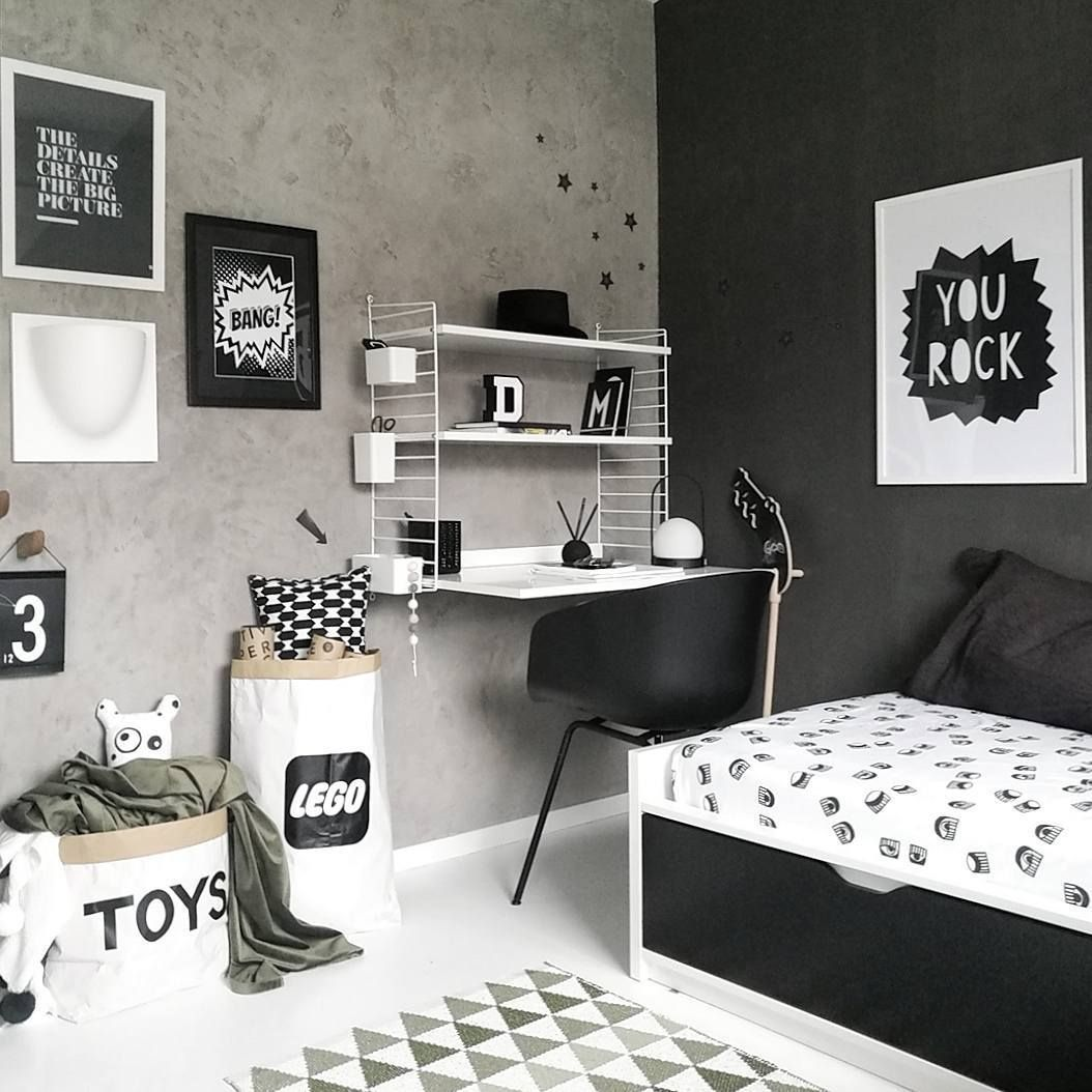 Inspiration From Instagram Black And White Boys Room Ideas Grey Black And White Boys Room Scandinavian White Room Decor Boy Bedroom Design Boys Bedrooms