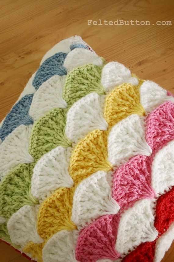 Pillow and Afghan Crochet Pattern, Paintbrush Colorful | Pinterest ...