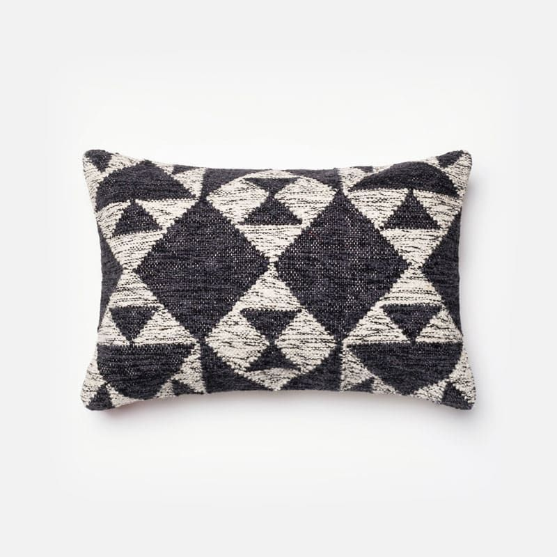 Loloi Rugs P40 Charcoal And Ivory Charcoal And Ivory Pillow With Cool 13 X 21 Pillow Insert