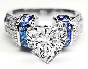 lovely heart shape diamond engagement ring square blue sapphire band in k white gold chg that - Blue Diamond Wedding Rings